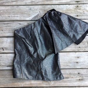 Zara Metallic One Shoulder Top